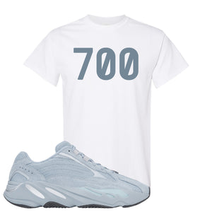 Yeezy Boost 700 V2 Hospital Blue 700 Sneaker Matching White T-Shirt