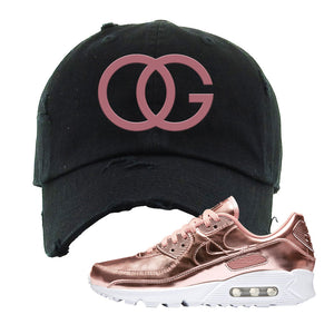 Air Max 90 WMNS 'Medal Pack' Rose Gold Sneaker Black Distressed Hat | Hat to match Nike Air Max 90 WMNS 'Medal Pack' Rose Gold Shoes | OG