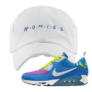 Undefeated x Air Max 90 Pacific Blue Sneaker White Distressed Dad Hat | Hat to match Undefeated x Nike Air Max 90 Pacific Blue Shoes | Homies