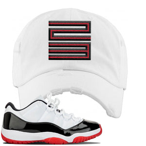 Jordan 11 Low White Black Red Sneaker White Distressed Dad Hat | Hat to match Nike Air Jordan 11 Low White Black Red Shoes | Jordan 11 23