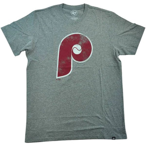Philadelphia Phillies Throwback Cooperstown Logo Gray Distressed T-Shirt