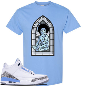 Jordan 3 UNC Sneaker Carolina Blue T Shirt | Tees to match Nike Air Jordan 3 UNC Shoes | Baby Mosaic