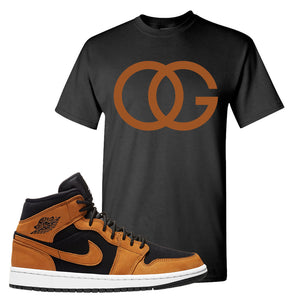 Air Jordan 1 Mid Wheat T Shirt | OG, Black