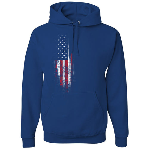 Standard Issue Distressed American Flag Banner Blue Pullover Grunt Life Hoodie