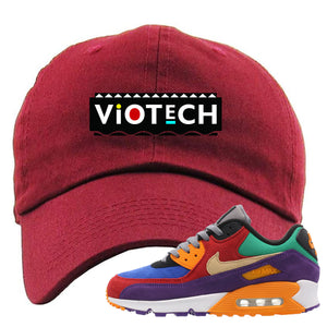 Embroidered on the front of the Air Max 97 Viotech maroon sneaker matching dad hat is the Viotech Martin logo