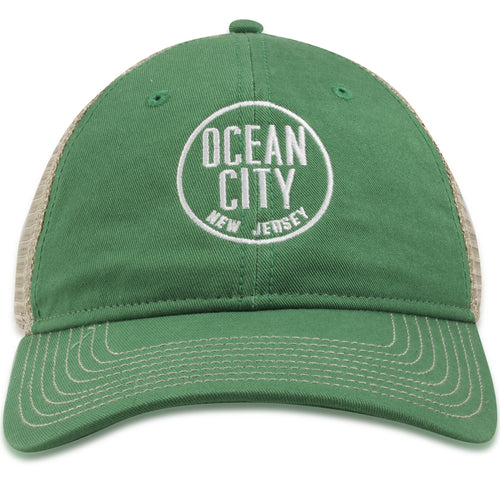 Ocean City New Jersey Kelly Green / Khaki Mesh-Back Trucker Hat