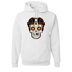 Broad Street Bullies Skull Pullover Hoodie | Broad Street Bullies Candy Skull White Pull Over Hoodie the front of this hoodie has the bullies skull logo