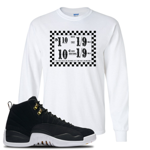 Taxi Fare White Long Sleeve T-Shirt To Match Jordan 12 Reverse Taxi Sneakers