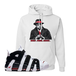 Air More Uptempo White Black Red Hoodie | White, Capone Illustration