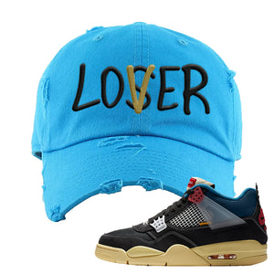 Union LA x Air Jordan 4 Off Noir Distressed Dad Hat | Lover, Blue Aqua