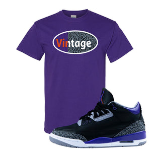 Air Jordan 3 Court Purple T Shirt | Vintage Oval, Purple