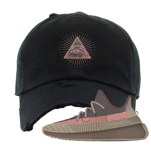 Yeezy 350 v2 Ash Stone Distressed Dad Hat | All Seeing Eye, Black