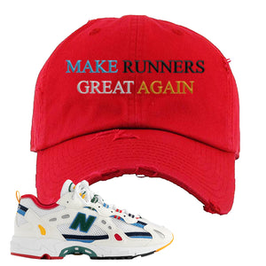 Aime Leon Dore X New Balance 827 Abzorb Multicolor 'White' Distressed Dad Hat | Red, Make Runners Great Again Basic