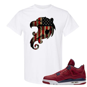 Jordan 4 FIBA Stars and Stripes Eagle White Sneaker Matching Tee Shirt
