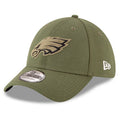the front of the 2018 salute to service philadelphia eagles military stretch fit cap is the military green tonal Eagles logo