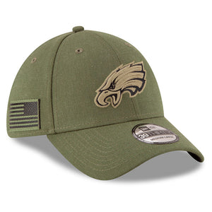 On the right side of the Philadelphia Eagles On Field Salute To Service 2018 Flex Fit Hat is the USA flag in military green and black