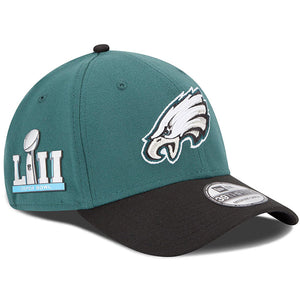 the right side of the Philadelphia Eagles Superbowl LII stretch fit cap has the superbowl LII patch in silver and light blue