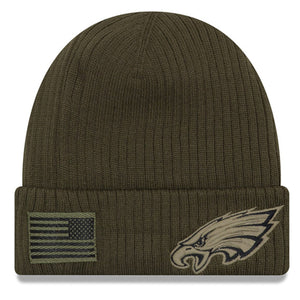 On the front of the philadelphia eagles 2018 on field salute to service winter beanie is a military tonal Philadelphia Eagles logo military green