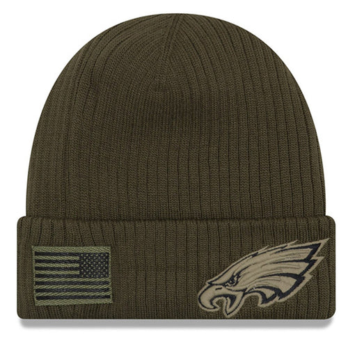 On the front of the philadelphia eagles 2018 on field salute to service winter beanie is a military tonal Philadelphia Eagles logo