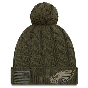 on the front of the 2018 women's salute to service philadelphia eagles on field beanie is the philadelphia eagles logo in tonal military green