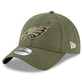 the front of the eagles 2018 kids on field sideline salute to service dad hat has the philadelphia eagles embroidered in military green and black