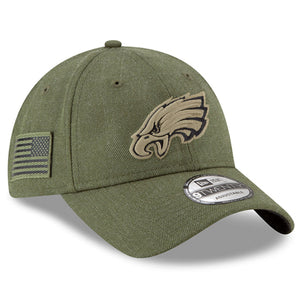 on the right side of the philadelphia eagles 2018 on field salute to service dad hat has the usa flag patch in military green and black