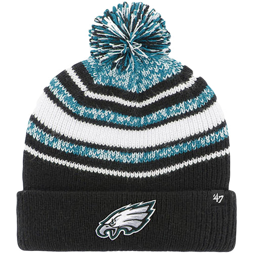 the Philadelphia Eagles kid's sized striped beanie has the Eagles logo on the front