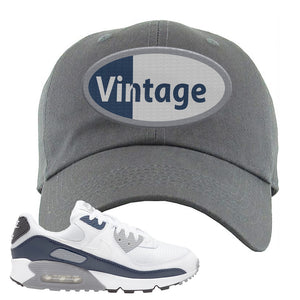 Air Max 90 White / Particle Grey / Obsidian Dad Hat | Dark Gray, Vintage Oval
