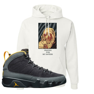 Air Jordan 9 Charcoal University Gold Hoodie | God Told Me, White