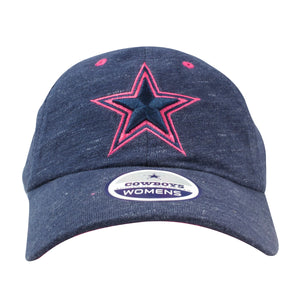 Embroidered on the front of the Dallas Cowboys women's heather navy blue dad hat is a Cowboys logo embroidered in navy blue and pink