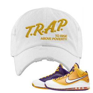 Lebron 7 'Media Day' Distressed Dad Hat | White, Trap To Rise Above Poverty