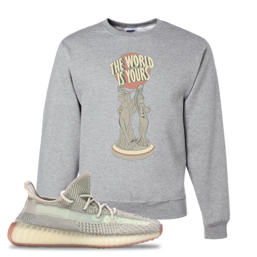 Yeezy Boost 350 V2 Citrin Non-Reflective The World Is Yours Statue Athletic Heather Sneaker Matching Crewneck Sweatshirt