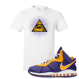 Lebron 8 Lakers T Shirt | All Seeing Eye, White