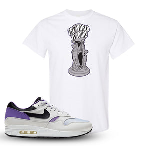 Air Max 1 DNA Series Sneaker White T Shirt | Tees to match Nike Air Max 1 DNA Series Shoes | The World Is Yours Statue