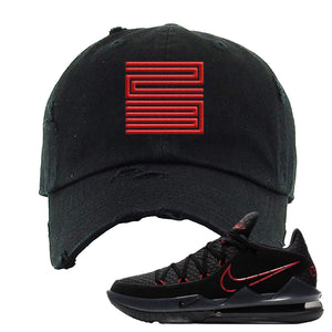 LeBron 17 Low Bred Sneaker Black Distressed Dad Hat | Dad to match Nike LeBron 17 Low Bred Shoes | Jordan 11 23