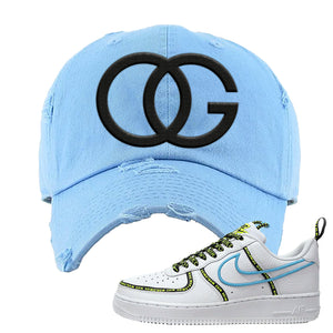 Air Force 1 '07 PRM 'Worldwide Pack' Distressed Dad Hat | Light Blue, OG