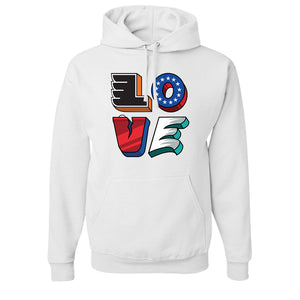 Love Philly Teams Pullover Hoodie | Philadelphia Sports Teams Love Sign White Pullover Hoodie the front of this hoodie has the love statue with a team representing every letter of the statue