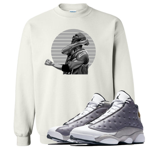 Jordan 13 Atmosphere Grey Jordan Scream White Crewneck