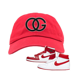 Jordan 1 New Beginnings Pack Sneaker Red Dad Hat | Hat to match Nike Air Jordan 1 New Beginnings Pack Shoes | OG