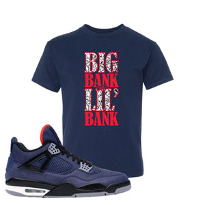 Jordan 4 WNTR Loyal Blue Big Bank Take Lil' Bank Navy Sneaker Hook Up Kid's T-Shirt