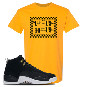 Taxi Fare Gold T-Shirt To Match Jordan 12 Reverse Taxi Sneakers