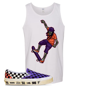 Vans Slip On Venice Beach Pack Tank Top | White, Skeleton Skateboarder