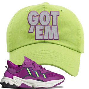 Ozweego Vivid Pink Sneaker Lime Green Dad Hat | Hat to match Adidas Ozweego Vivid Pink Shoes | Got Em