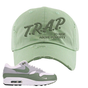 Air Max 1 Spiral Sage Distressed Dad Hat | Trap To Rise Above Poverty, Sage Green