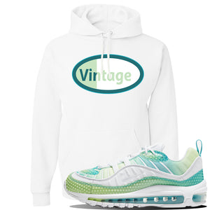WMNS Air Max 98 Bubble Pack Sneaker White Pullover Hoodie | Hoodie to match Nike WMNS Air Max 98 Bubble Pack Shoes | Vintage Oval