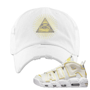 Air More Uptempo Light Citron Distressed Dad Hat | All Seeing Eye, White