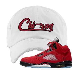 Air Jordan 5 Raging Bull Distressed Dad Hat | Chiraq, White
