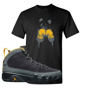 Air Jordan 9 Charcoal University Gold T Shirt | Boxing Panda, Black