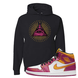 Air Jordan 1 Mid Familia Hoodie | All Seeing Eye, Black