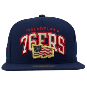 Philadelphia 76ers Arched Lettering USA Flag Navy Blue Snapback Hat